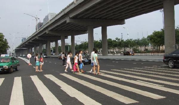 石家庄经济学院学生高架桥下横穿马路隐患多